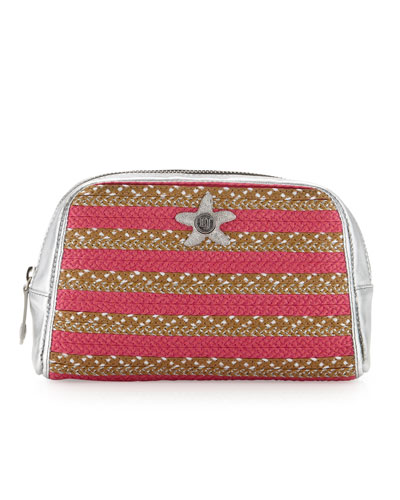 Eric Javits EJ Striped Zip Cosmetic Pouch, Fuchsia