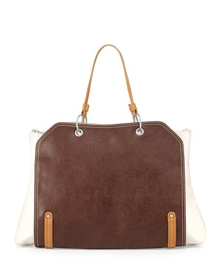 Jillian Tonal Faux-Leather Tote Bag, Tan/White
