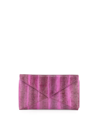 beirn Envelope Snakeskin Clutch, Purple