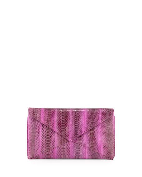 Envelope Snakeskin Clutch, Purple