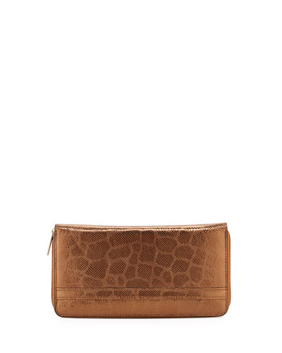 Eric Javits Snakeskin-Embossed Zip Leather Wallet, Bronze