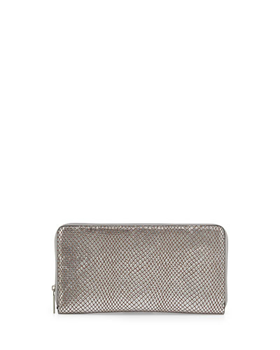 Eric Javits Snakeskin-Embossed Zip Leather Wallet, Silver