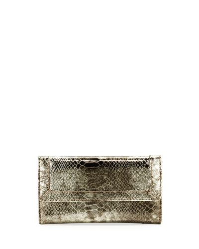 Eric Javits Snakeskin-Embossed Leather Multi-Function Cell Phone Wallet, Gold