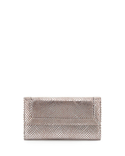Eric Javits Snakeskin-Embossed Leather Multi-Function Cell Phone Wallet, Silver