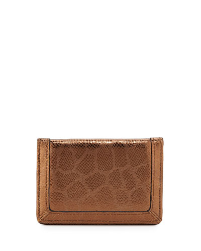 Eric Javits Snakeskin-Embossed Leather Card Holder Wallet, Bronze
