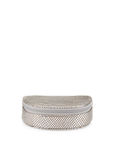 Eric Javits Martha Snakeskin-Embossed Leather Jewelry Case, Silver