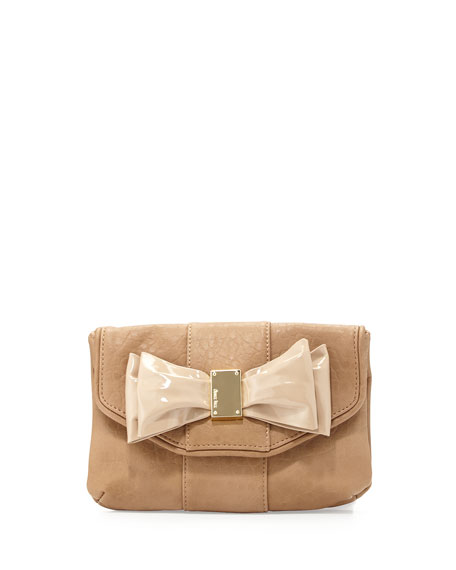 Joy Bow Faux Leather Clutch, Camel
