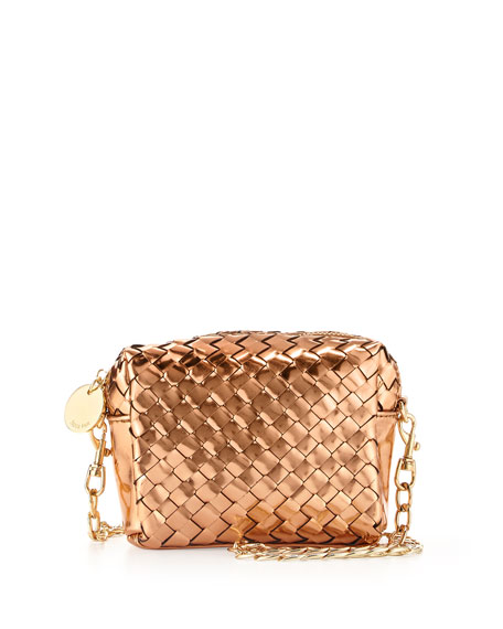 Sunset Mini Woven Crossbody Bag, Rose Gold