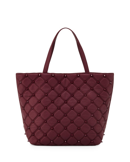 Empress Stud Quilted Faux-Leather Tote Bag, Berry