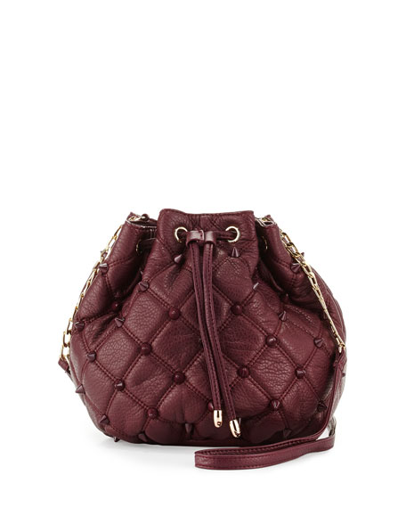 Empress Stud Quilted Faux-Leather Bucket Bag, Berry