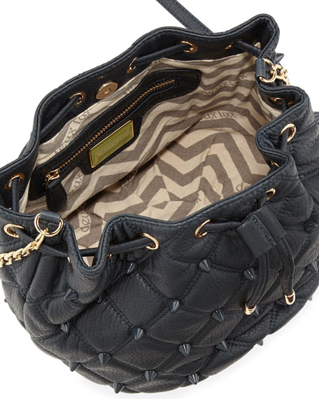 Empress Stud Quilted Faux-Leather Bucket Bag, Marine