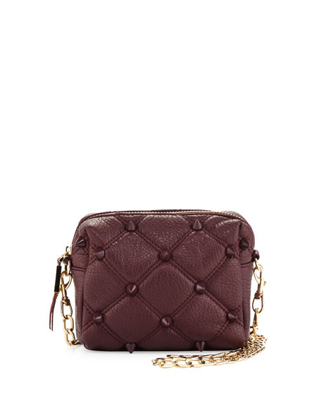 Empress Quilted Spiked Crossbody Bag, Berry