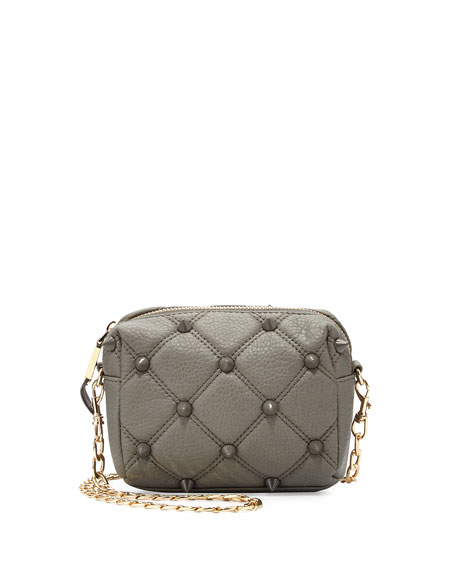 Empress Stud Quilted Faux-Leather Crossbody Bag, Dove