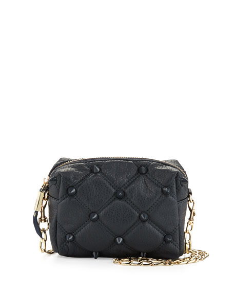 Empress Quilted Spiked Crossbody Bag, Navy