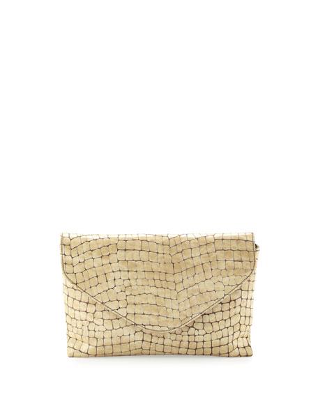 Snakeskin-Embossed Leather Envelope Clutch, Pearl