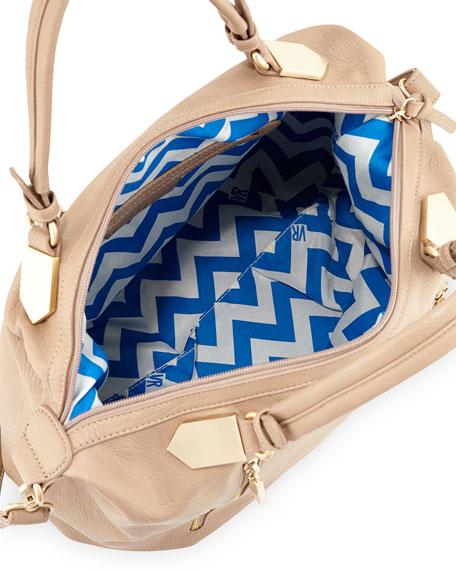 Arrow Faux Leather Satchel Bag, Taupe