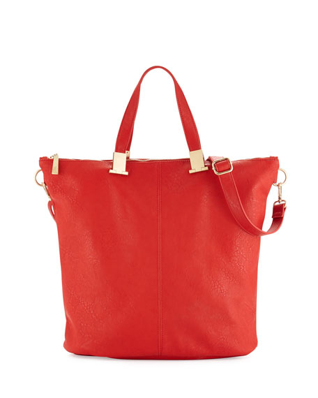 Corner Weathered Faux Leather Tote Bag, Coral