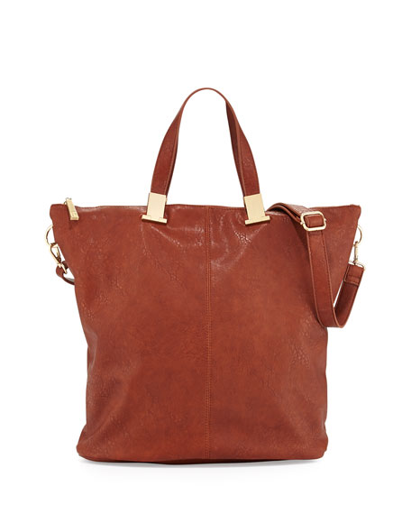 Corner Weathered Faux Leather Tote Bag, Cognac