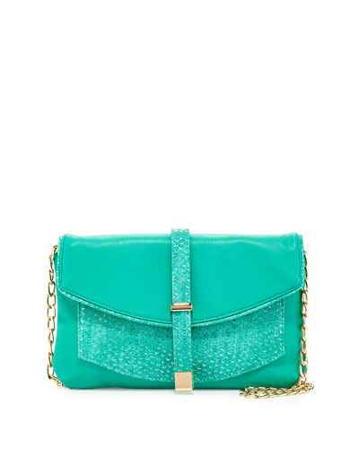 Deux Lux Metallic-Snake Faux-Leather Crossbody Clutch, Turquoise
