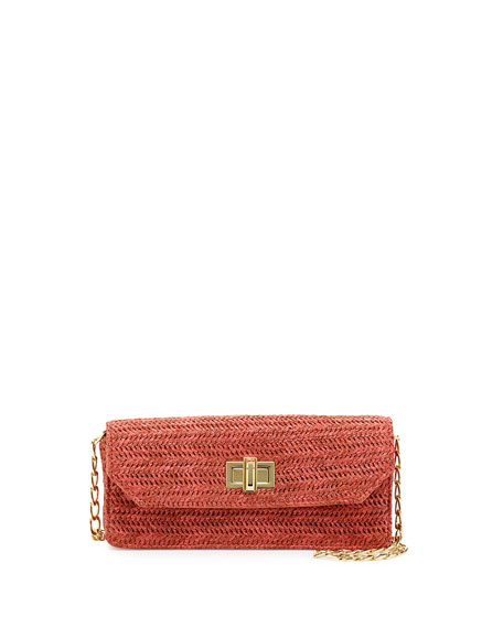 Raffia Faux-Leather Contrast Crossbody Clutch, Coral