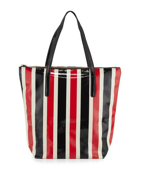 Avignon Striped Vinyl Tote Bag, Red/Navy