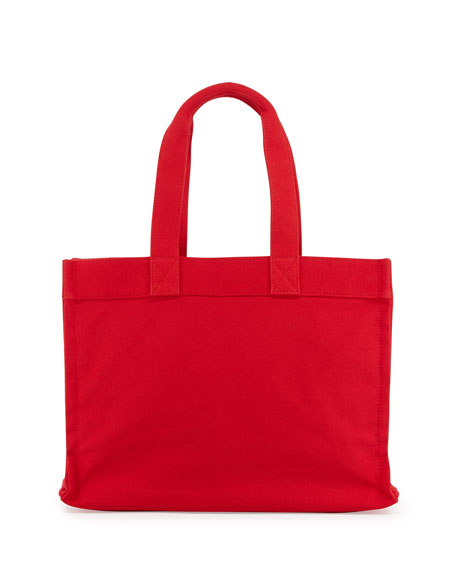 Village Canvas Tote Bag, Red/Navy