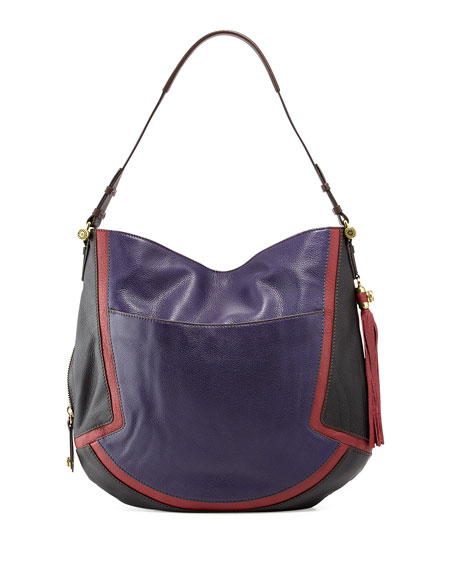 Angelique Colorblock Leather Hobo, Purple/Multi