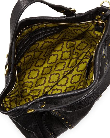 Candice Studded Leather Satchel, Black