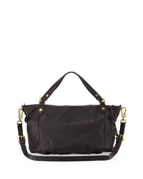 Candice Studded Leather Satchel, Black