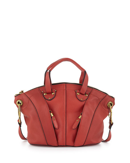 Jennah Paneled Zip Leather Satchel, Crimson