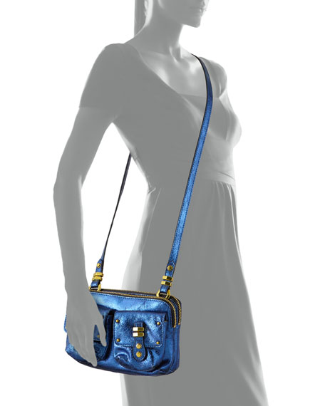Monica Metallic Leather Crossbody, Blue