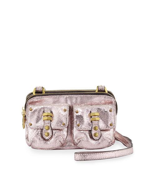 Monica Metallic Leather Crossbody Bag, Rose