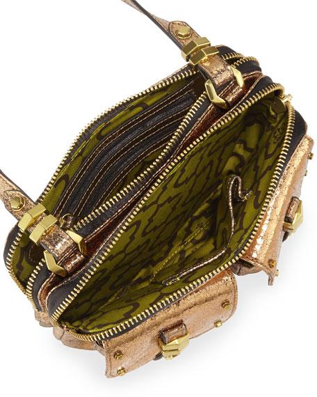 Monica Metallic Leather Crossbody Bag, Gold