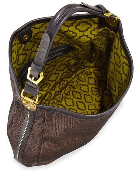 Noelle Glitter/Leather Hobo Bag, Bronze