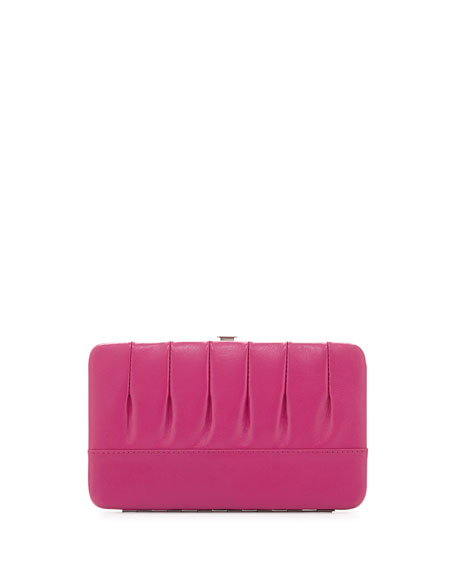 Eric Javits Pleated Leather Frame Wallet, Fuchsia