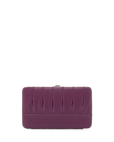 Eric Javits Pleated Leather Frame Wallet, Purple
