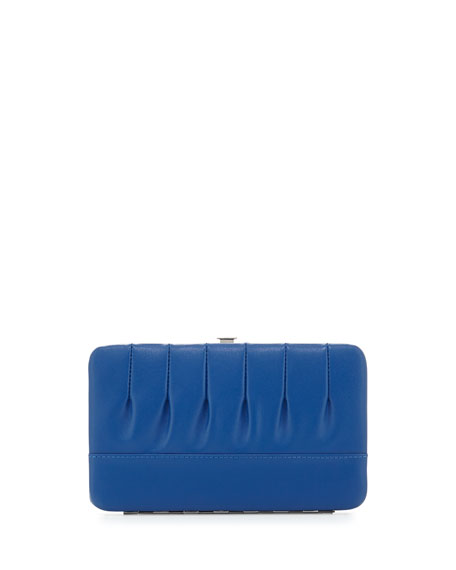 Eric Javits Pleated Leather Frame Wallet, Blue