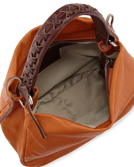 Italian Leather Convertible Hobo Bag, Camel/Dark Brown