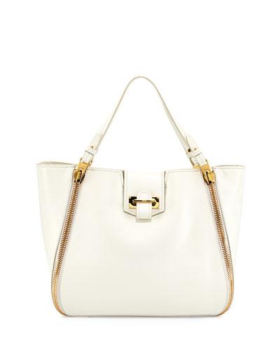 Tom Ford Sedgwick Medium Zip Tote Bag, White