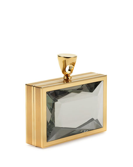 Faceted Brass Ring Clutch Bag, Clear