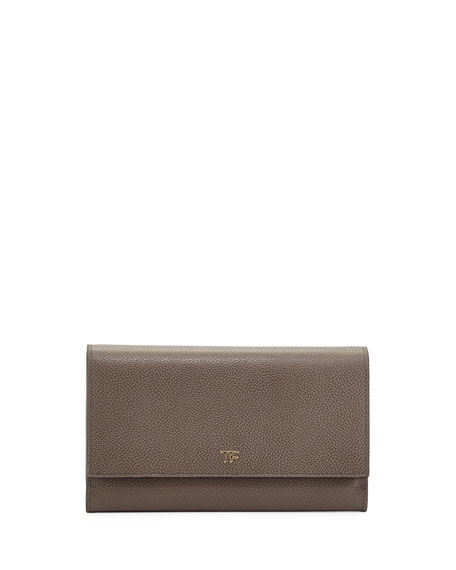 TOM FORDLeather Wallet-on-Chain, Dark Gray