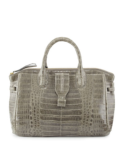 Large Crocodile Tote Bag, Gray
