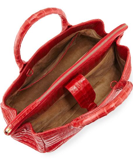 Large Crocodile Tote Bag, Red