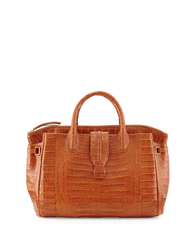 Nancy Gonzalez Medium Crocodile Tote Bag, Cognac (Made to Order)