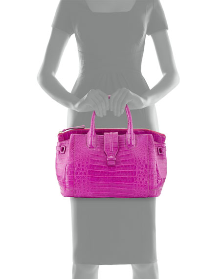 Medium Crocodile Tote Bag, Magenta (Made to Order)