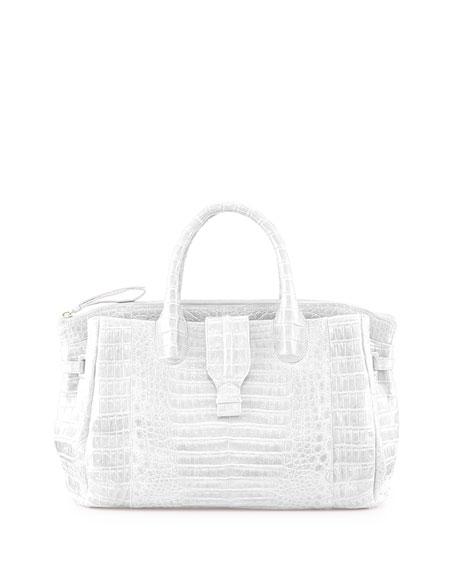 Medium Crocodile Tote Bag, White