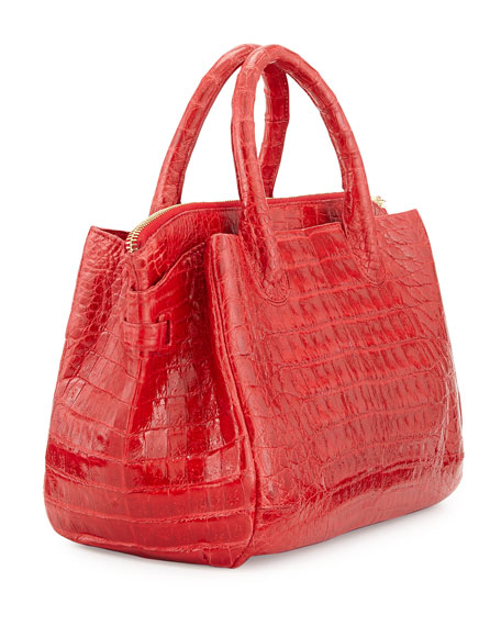 Small Crocodile Tote Bag, Red