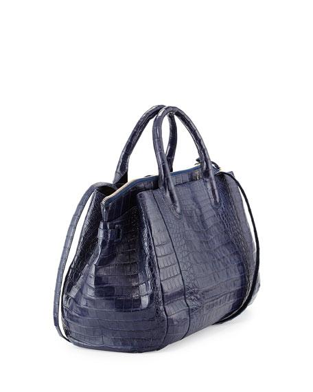 Small Crocodile Tote Bag, Navy Blue