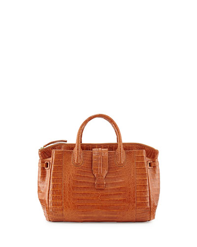 Nancy Gonzalez Small Crocodile Tote Bag, Cognac (Made to Order)