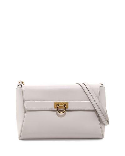 Salvatore Ferragamo Abbey Leather Shoulder Bag, Nuage